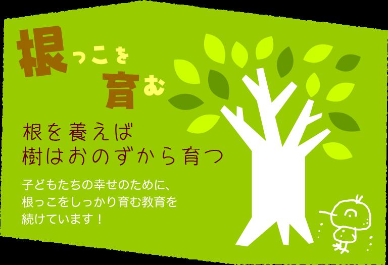 根っこを育む根を養えば樹はおのずから育つ子どもたちの幸せのために、根っこをしっかり育む教育を続けています!